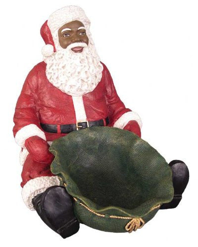 African american santa claus candy tray figurine large