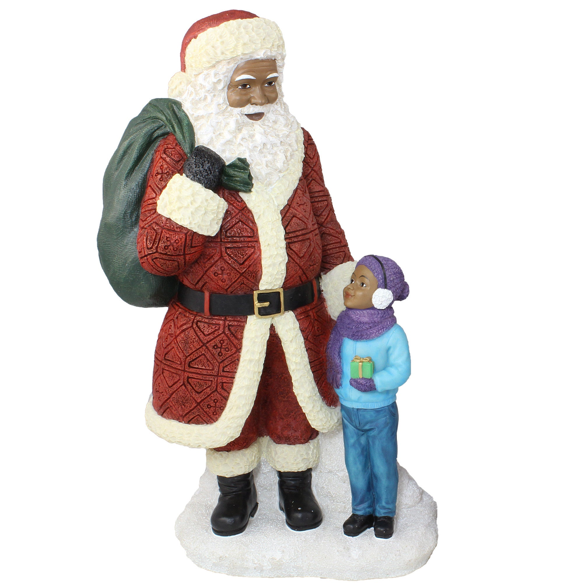 African American Santa Claus Standing with Boy Figurine