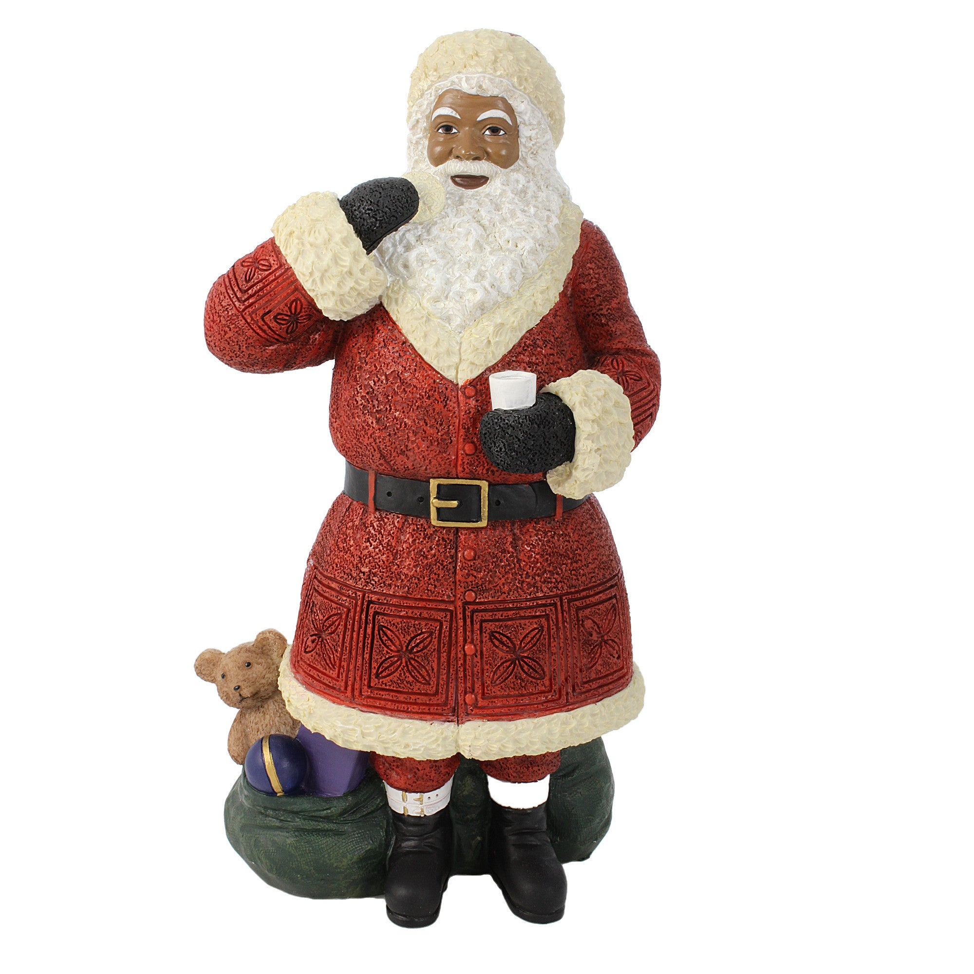 African American Santa Claus Standing with Cookie Figurine