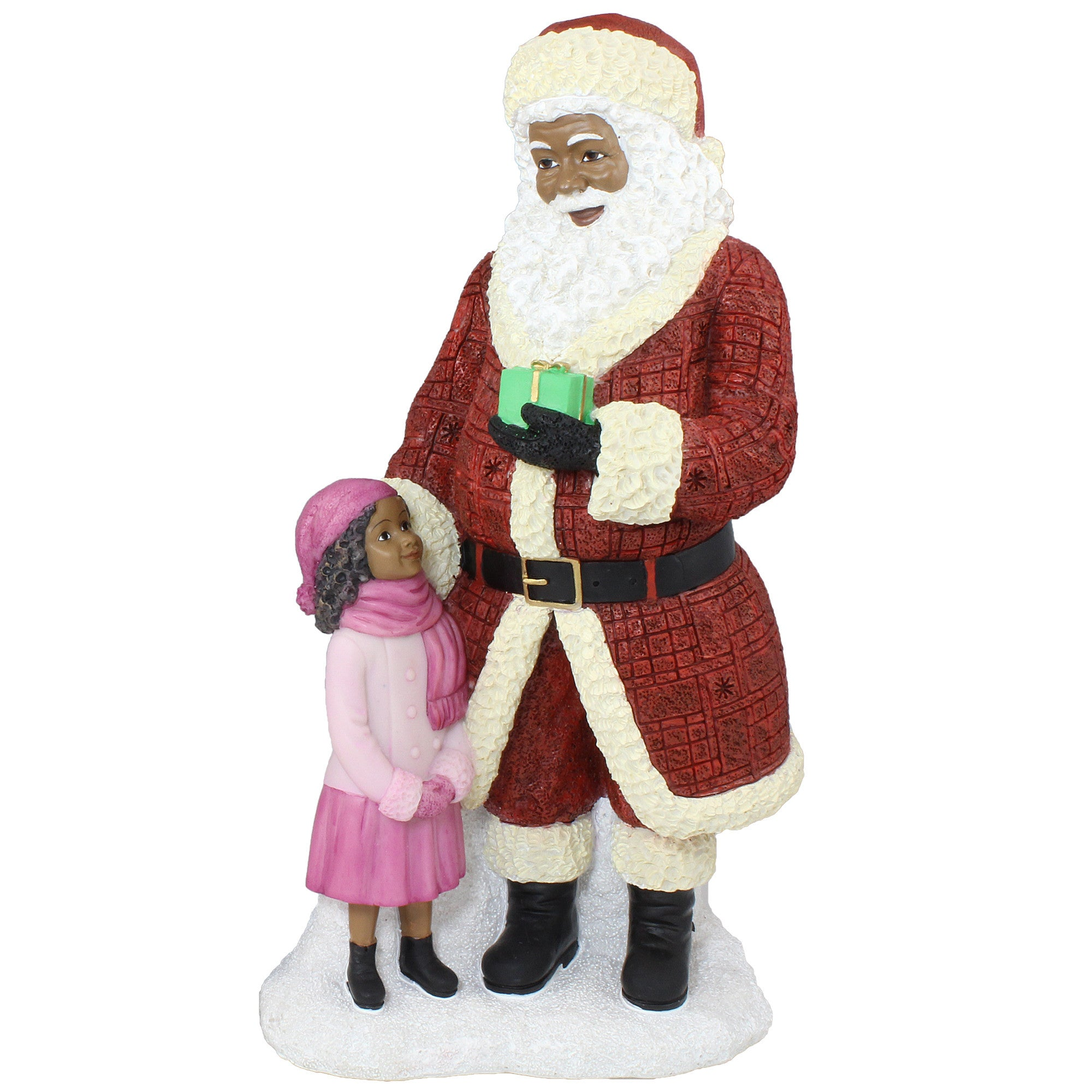 African American Santa Claus Standing with Girl Figurine
