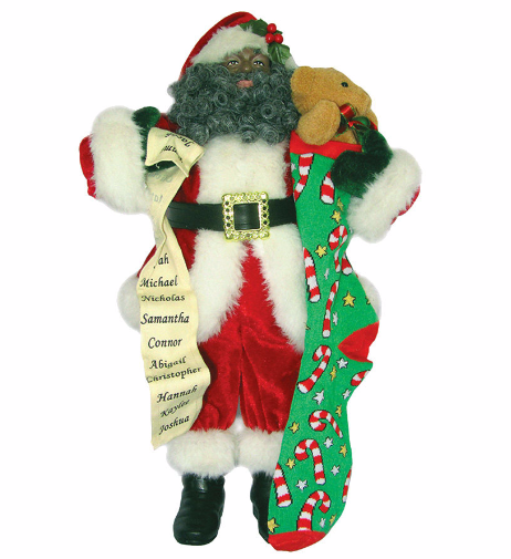 African American Santa Claus with Stocking and List Figurine