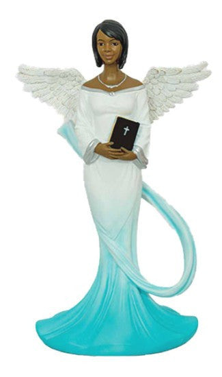 African American Sash Angel Figurine in Cyan by Positive Image Gifts