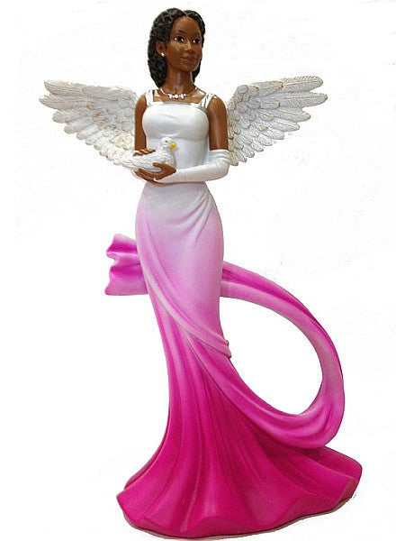 African American Sash Angel Figurine in Fuschia by Positive Image Gifts