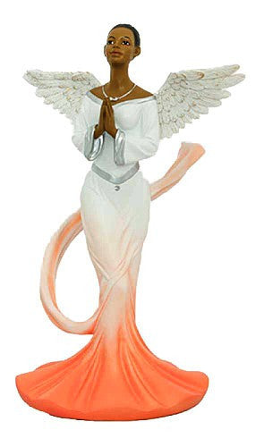 African American Sash Angel Figurine in Orange by Positive Image Gifts
