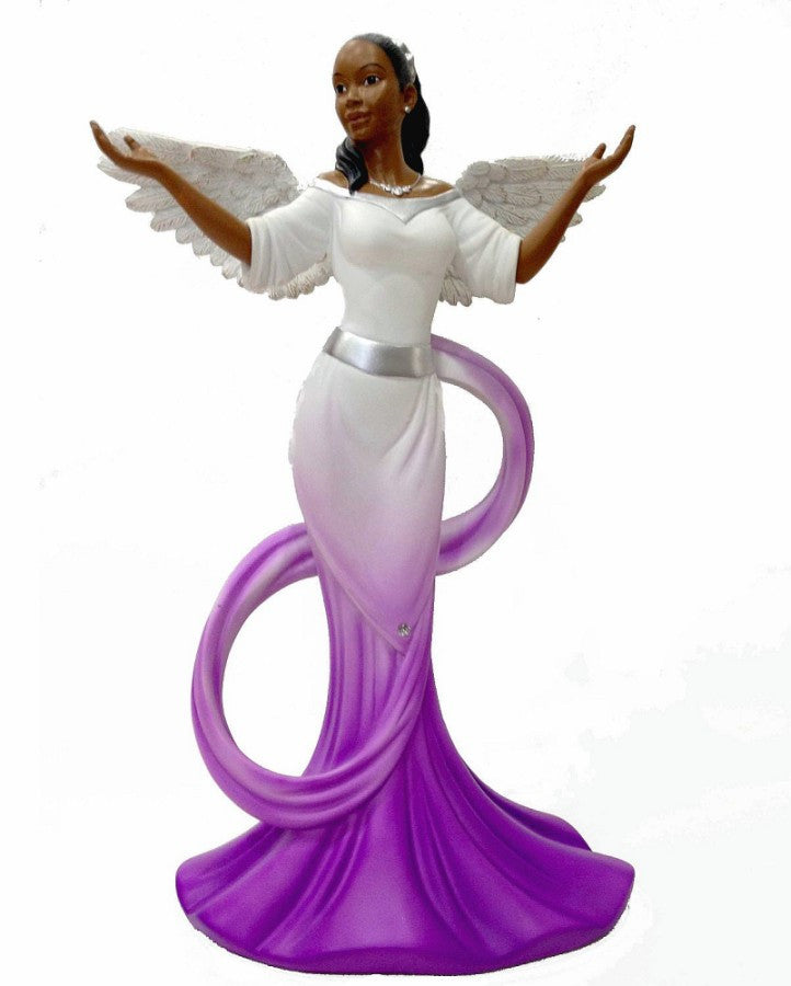 African American Sash Angel Figurine in Purple by Positive Image Gifts