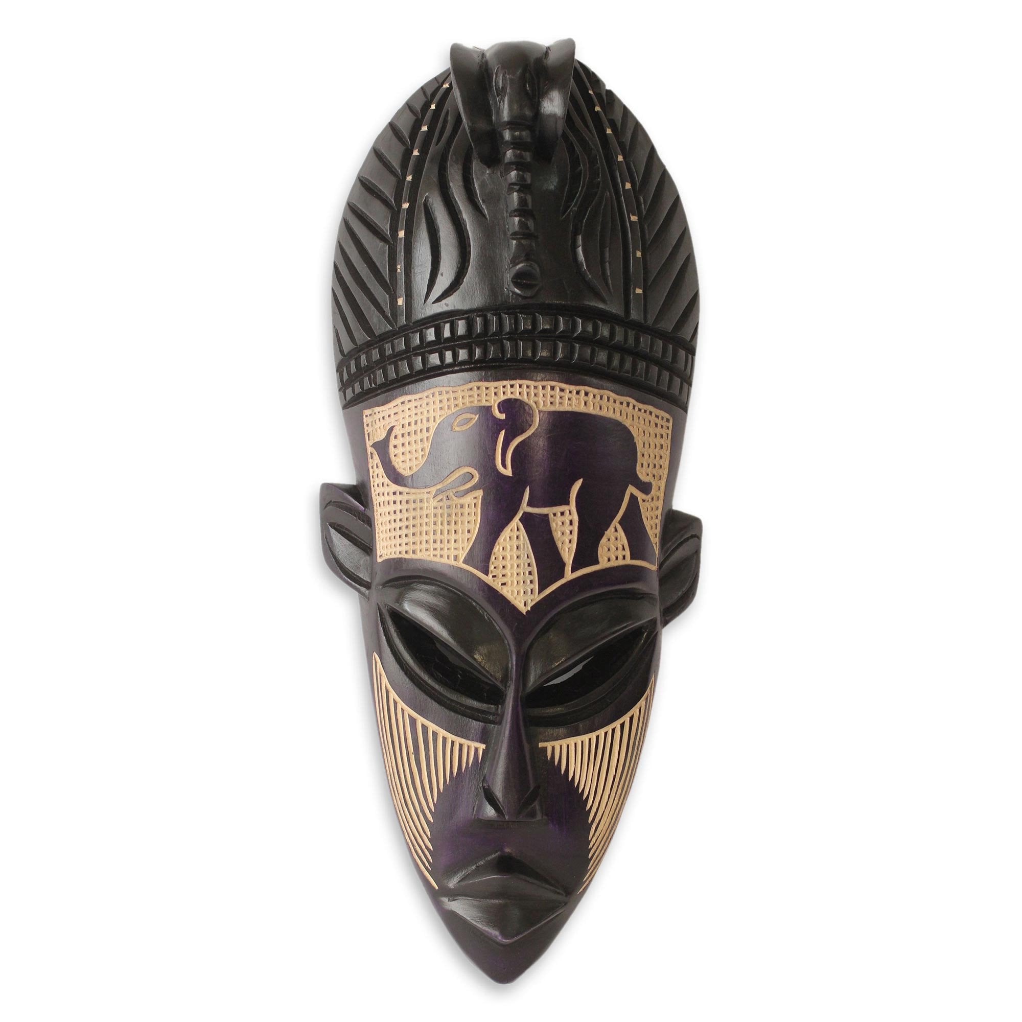 Authentic West African Elephant Spirit Mask by Theophilus Sackey (Ghana)