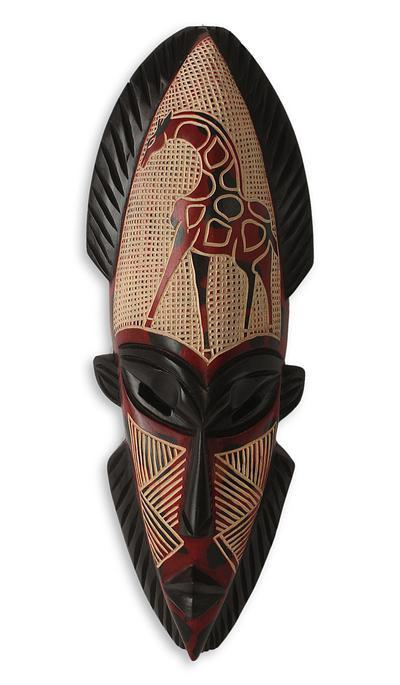 Authentic African Giraffe Spirt Mask by Theophilus Sackey (Ghana)