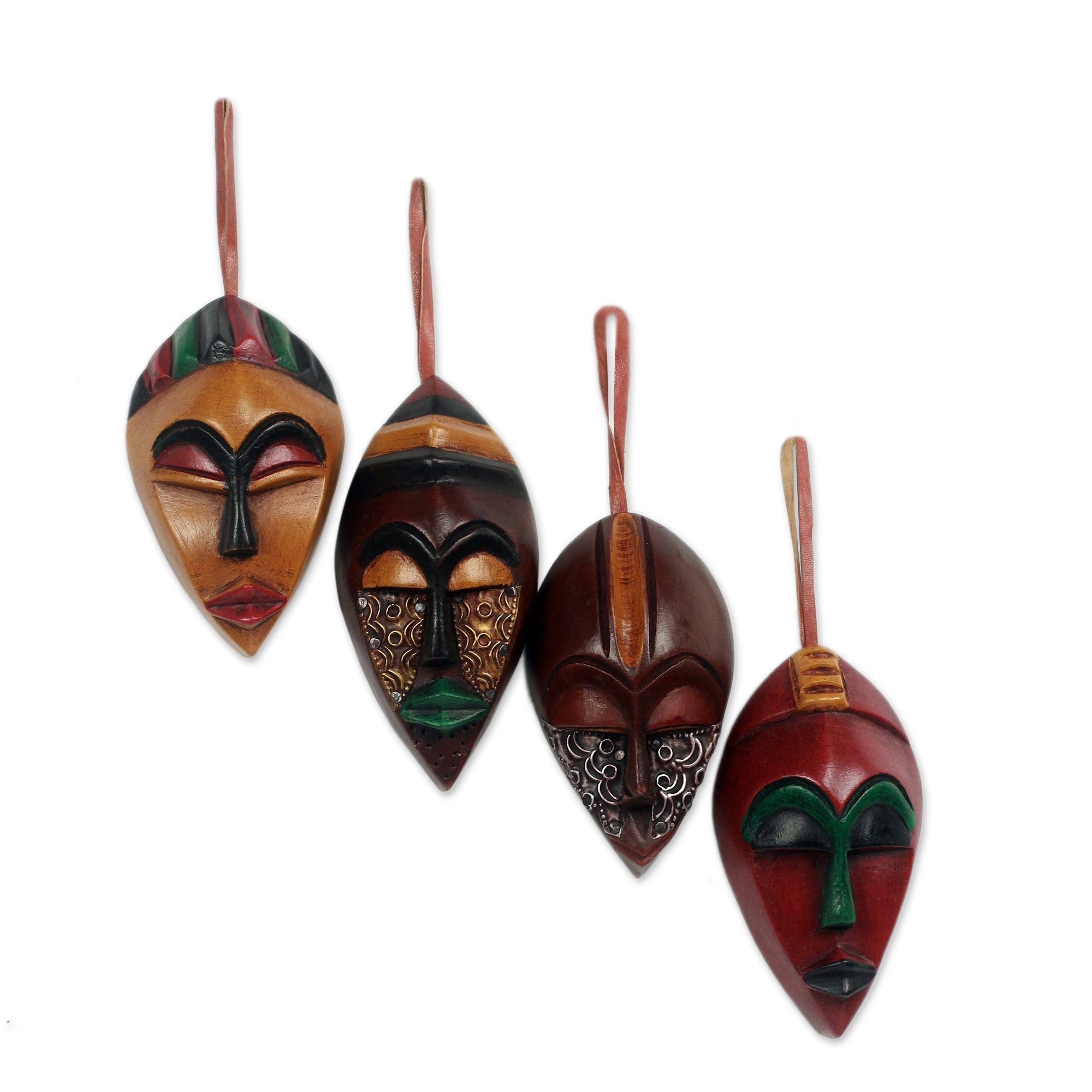 African Celebration Mask Ornament Set by Victor Yao Delanyo