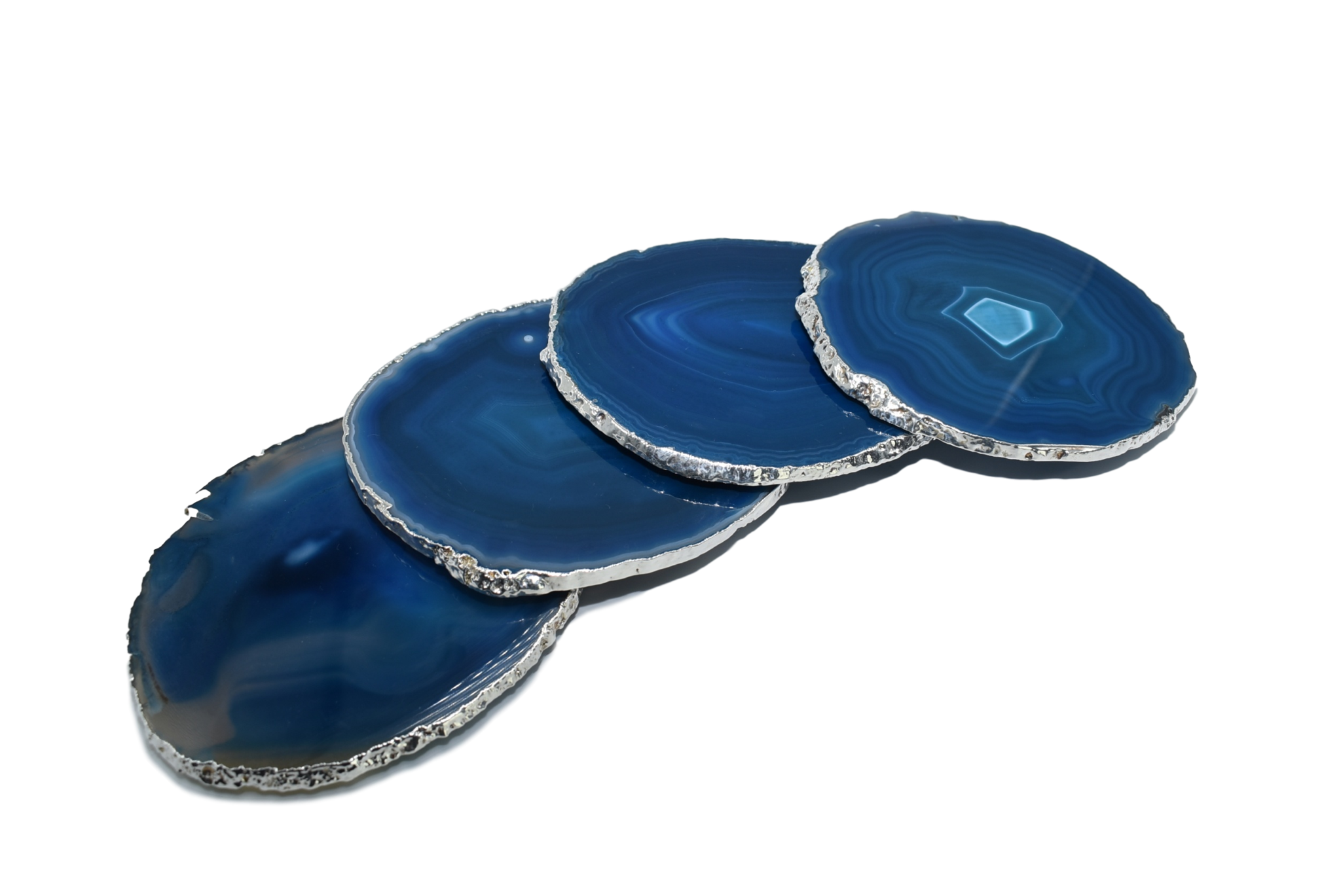 Premium Natural Agate Gemstone Coasters (Set of Four): Teal
