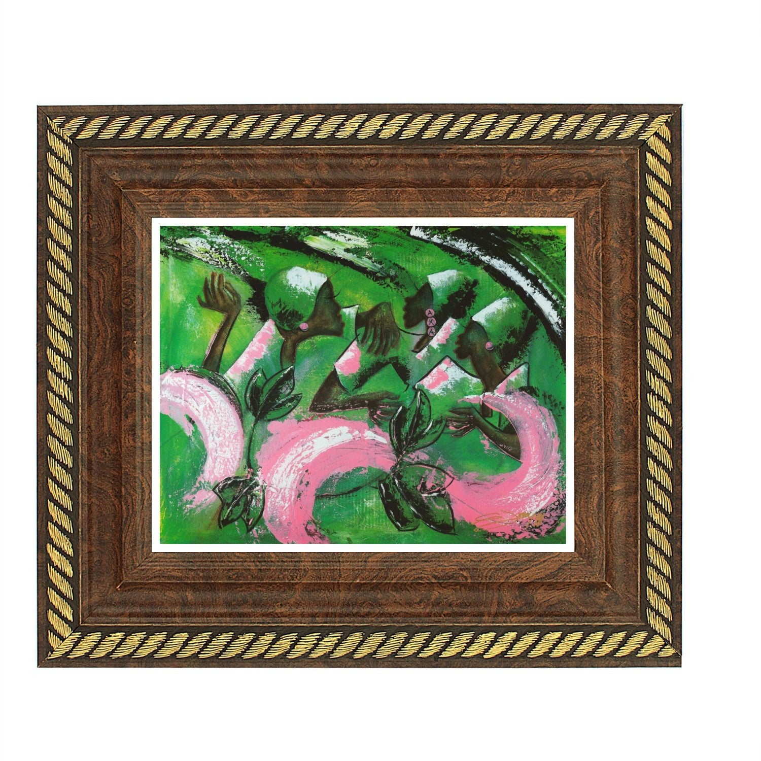 Sister, Soror and Friend (Alpha Kappa Alpha) by Gerald Ivey (Brown Rope Frame)