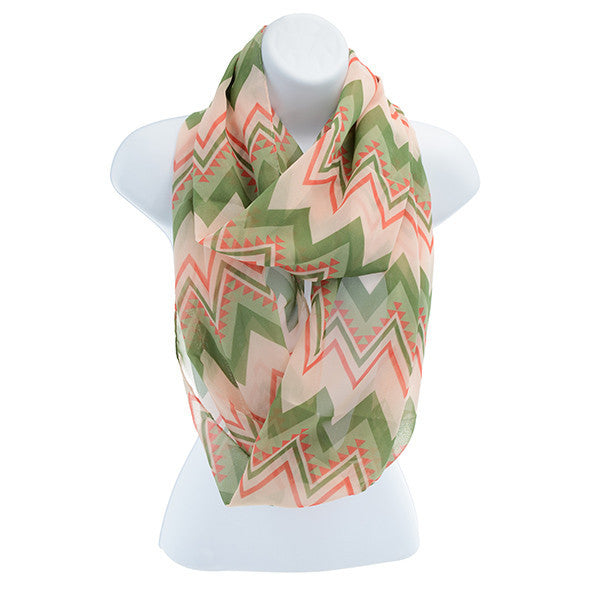 Alpha Kappa Alpha Inspired Pink and Green Chevron Scarf