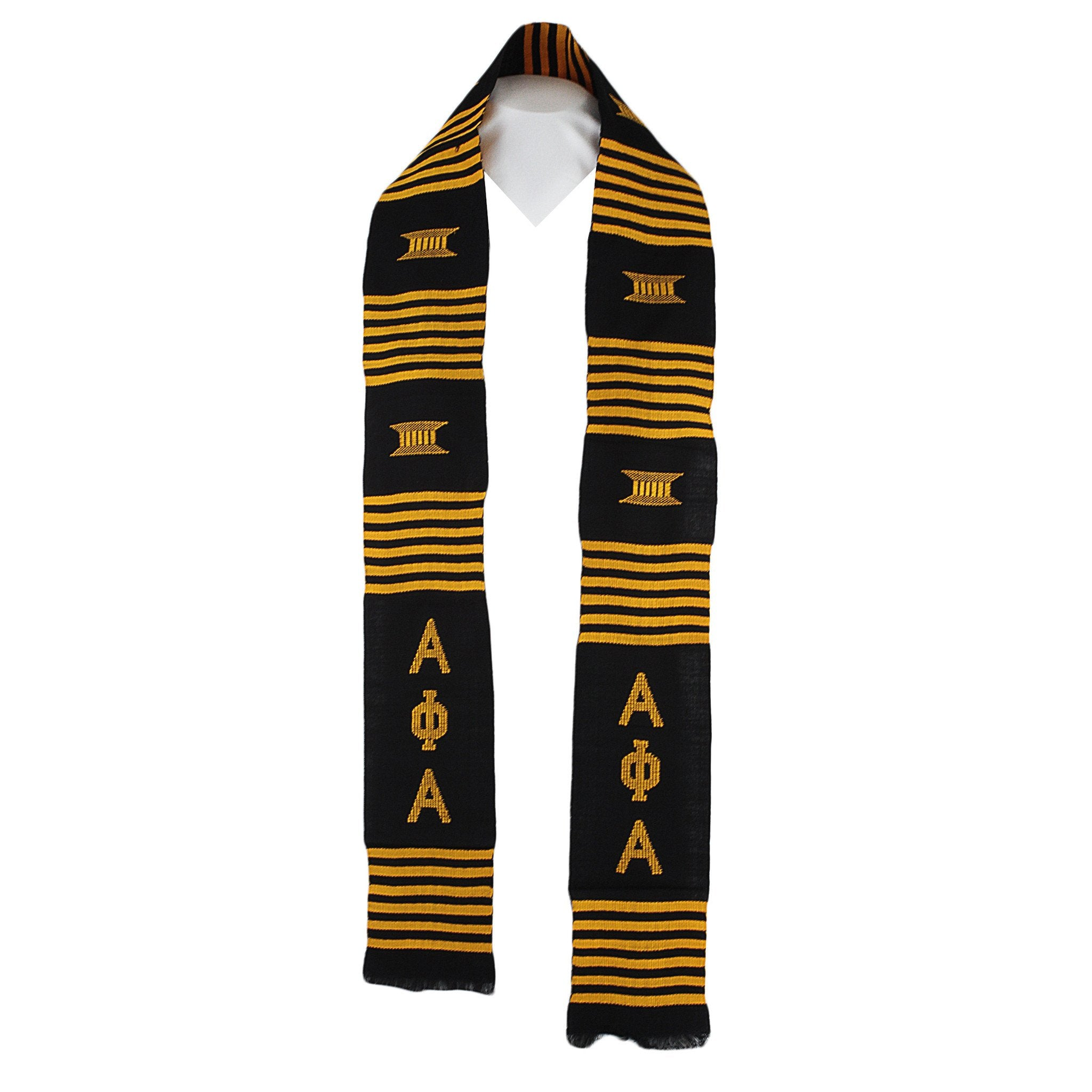 Alpha Phi Alpha: Authentic African Hand Made Ghanaian Stole (Black)