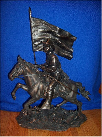 Buffalo Soldier with Flag (Bronzetone) by the American Heritage Collection