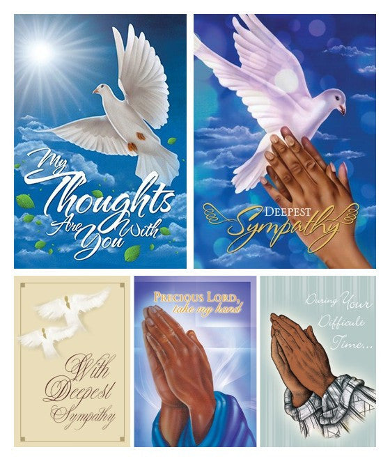 Assorted African American Sympathy Greeting Card Set #1