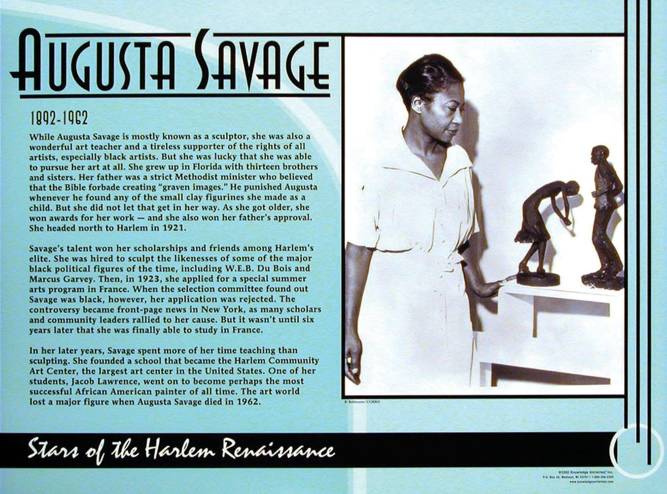 Stars of the Harlem Renaissance: Augusta Savage Poster by Knowledge Unlimited