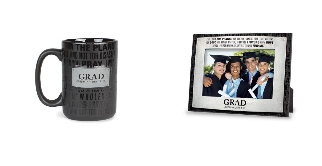 Graduation Mug and Photo Frame Gift Set: Badge of Faith Series by LCP Gifts