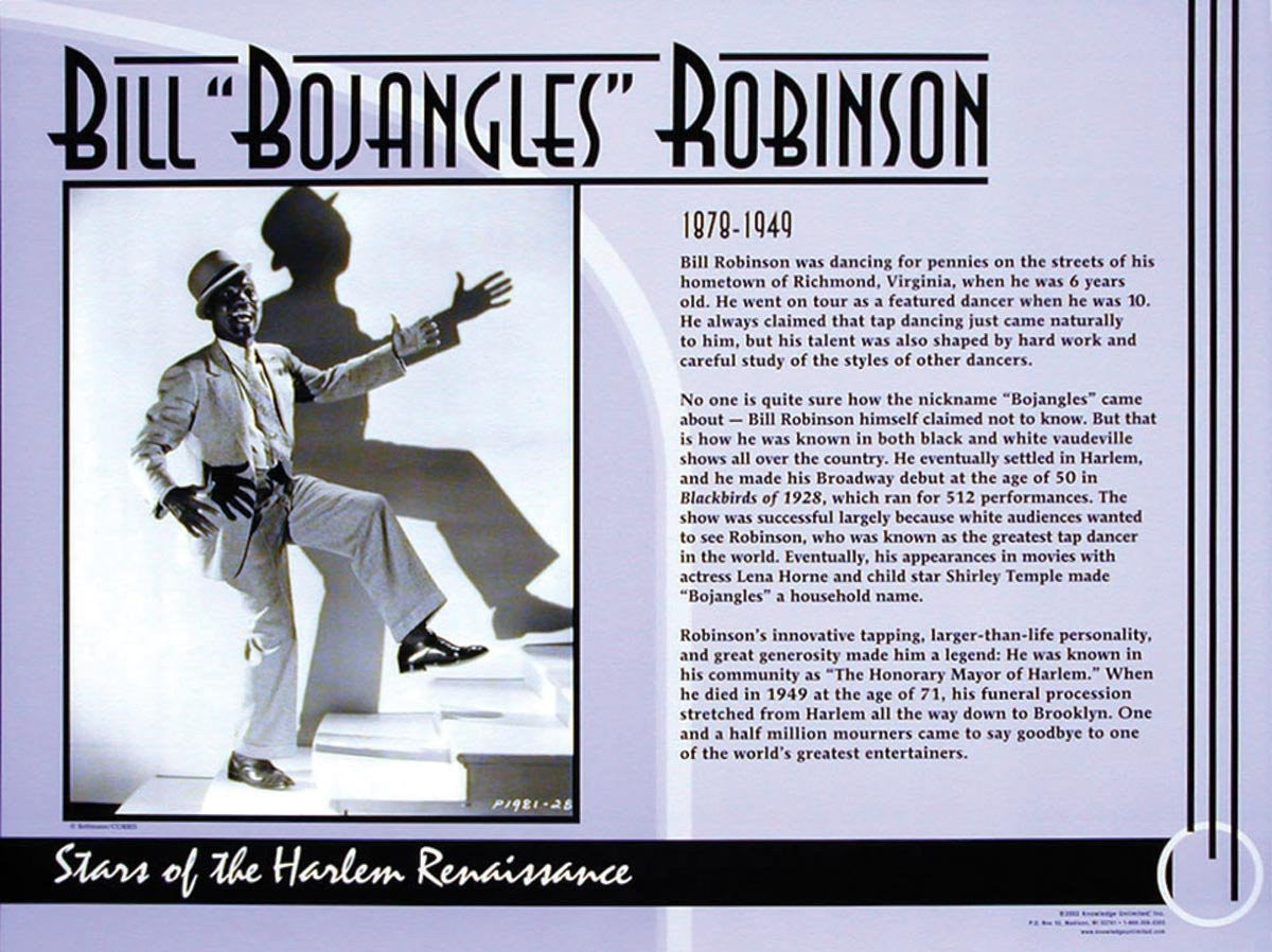 "Stars of the Harlem Renaissance: Bill ""Bojangles"" Robinson Poster by Knowledge Unlimited"