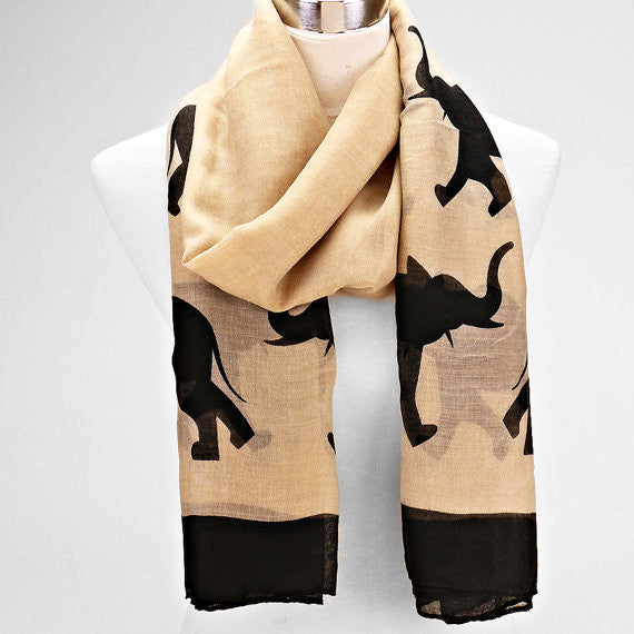 Black and Beige Elephant Scarf