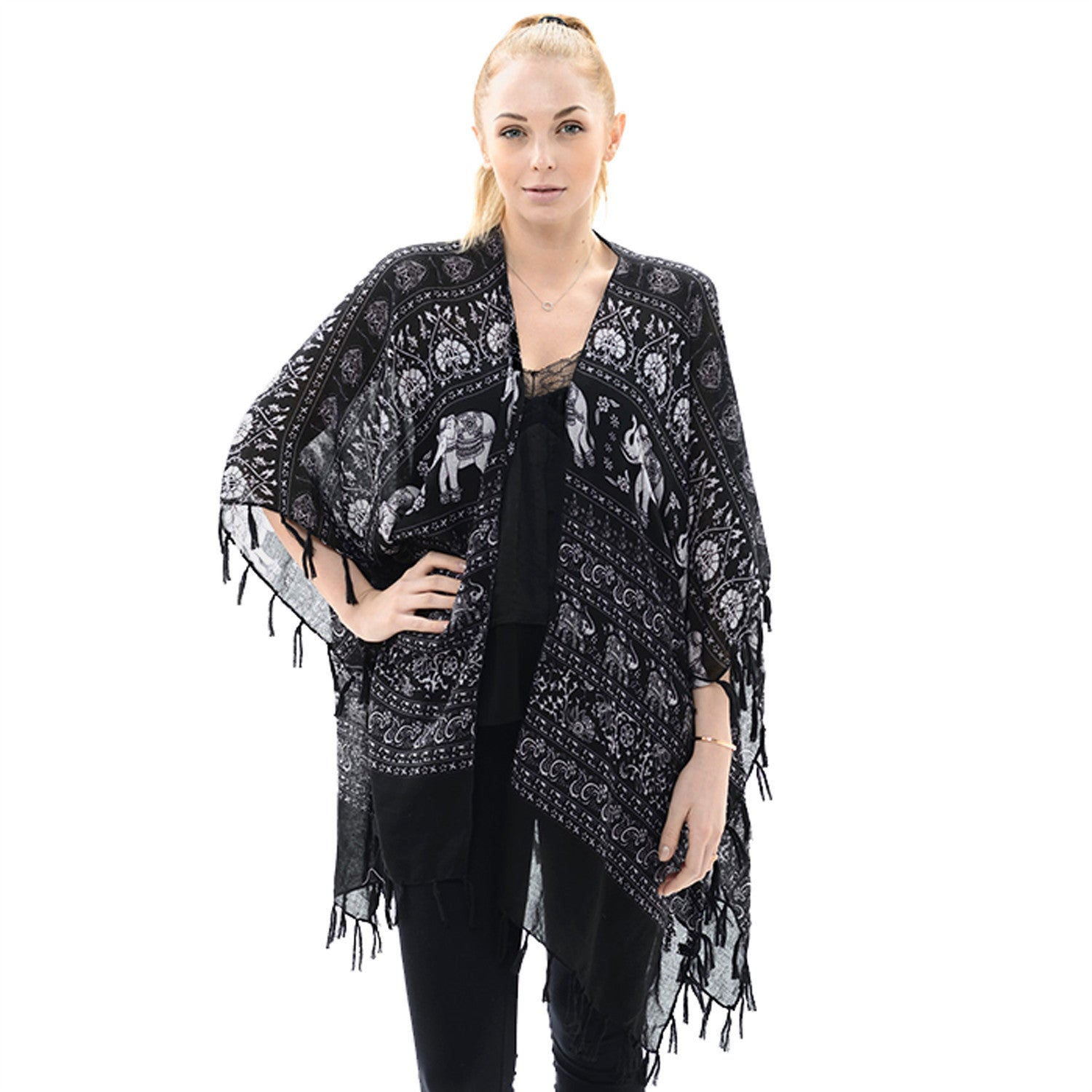 Black and White Elephant Tassel Shawl