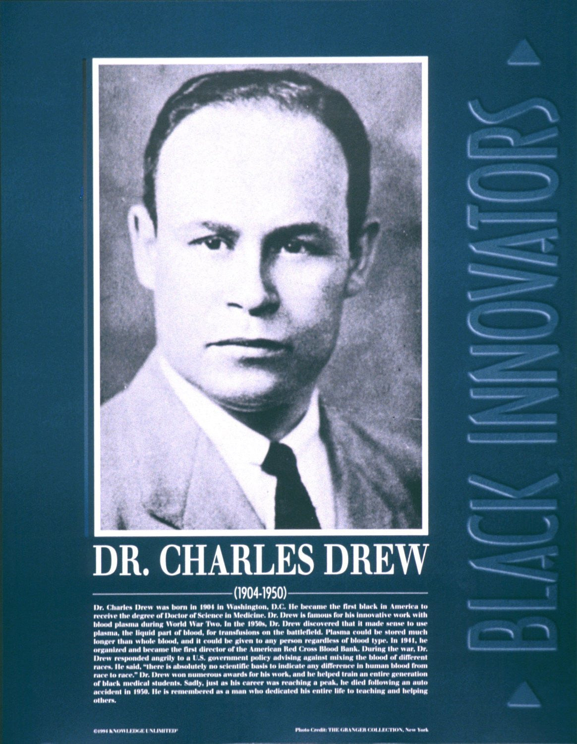 Black Innovators: Dr. Charles Drew Poster by Knowledge Unlimited