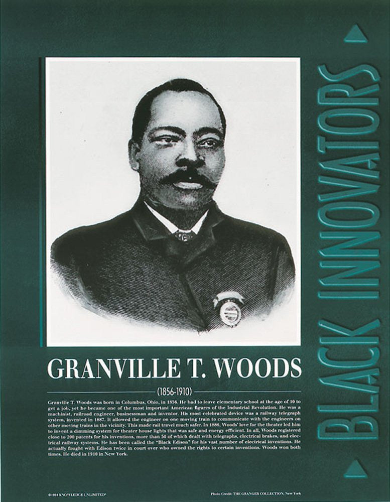 Black Innovators: Granville T. Woods Poster by Knowledge Unlimited