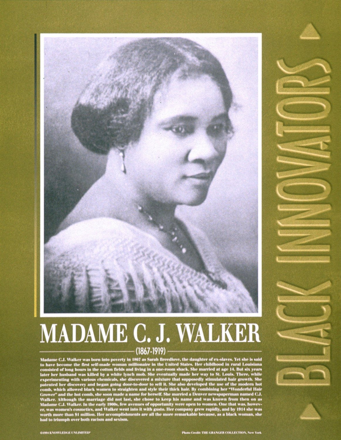 Black Innovators: Madame C.J. Walker Poster by Knowledge Unlimited