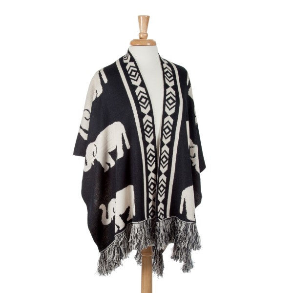 Delta Sigma Theta Inspired Black and White Reversible Elephant Shawl (Front)