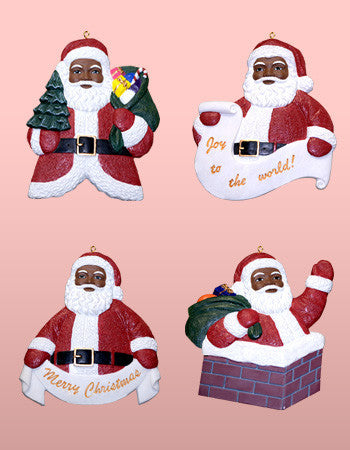 African American Santa Claus Ornament Set