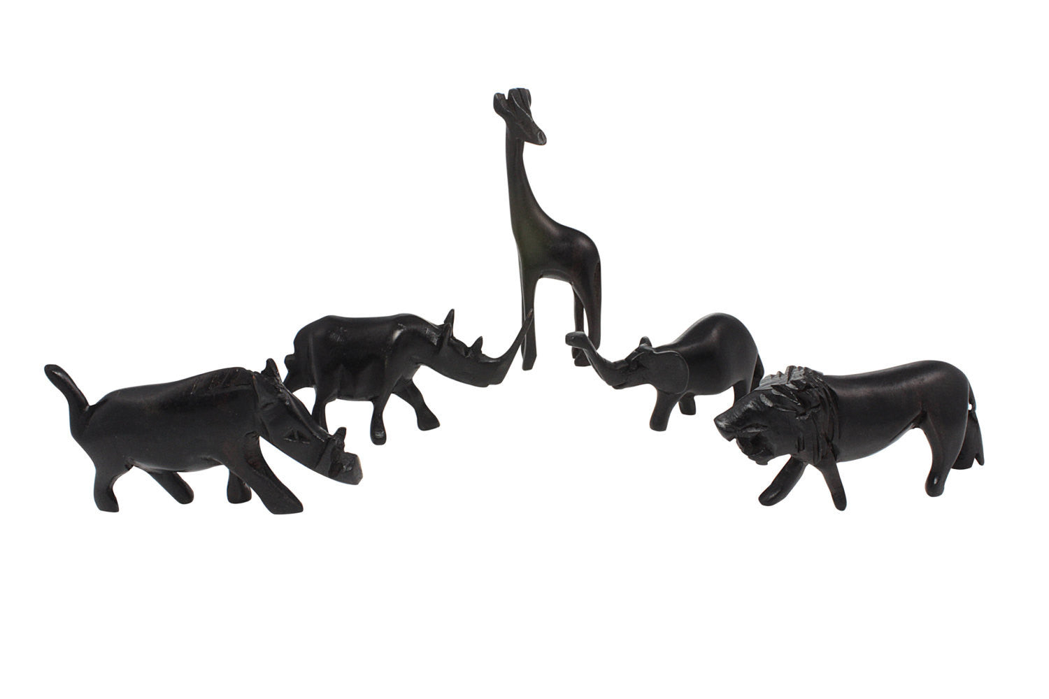 Hand Made Miniature Kenyan African Blackwood Serengeti Animal Set (5 piece)