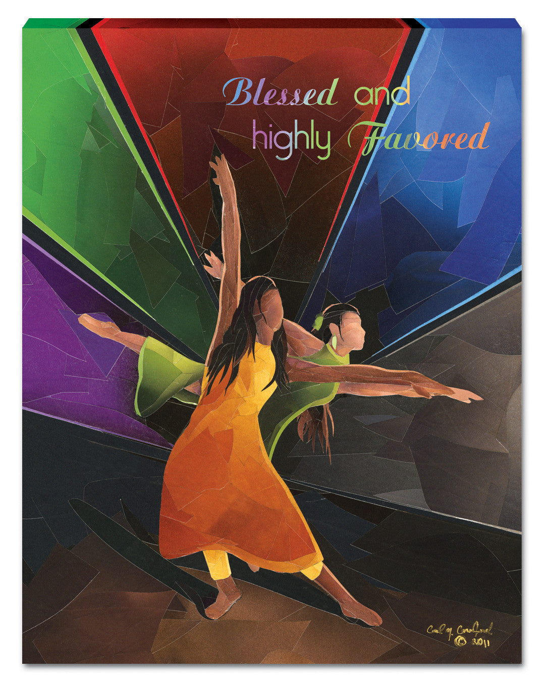 Blessed and Highly Favored Canvas Wall Hanging by Carl M. Crawford
