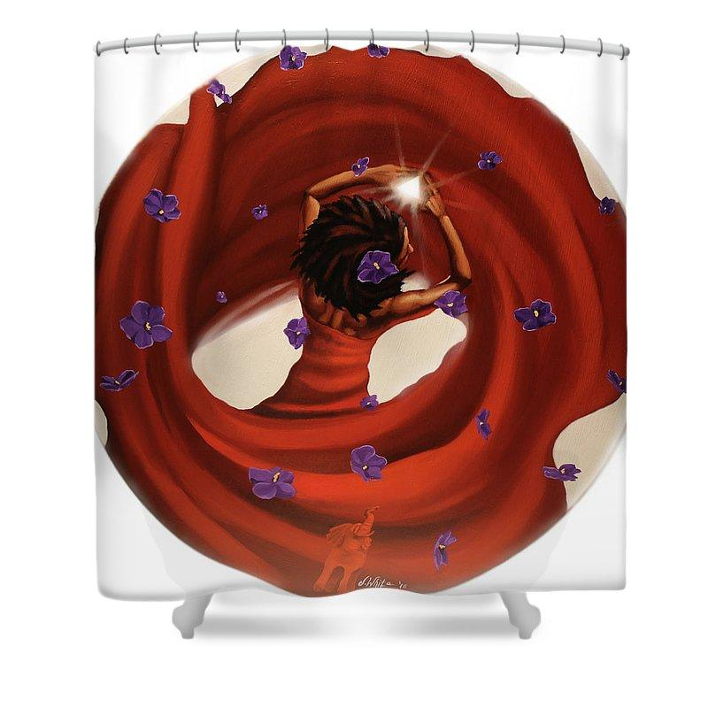 Blossom in this Light: Delta Sigma Theta Shower Curtain by Jerome T. White