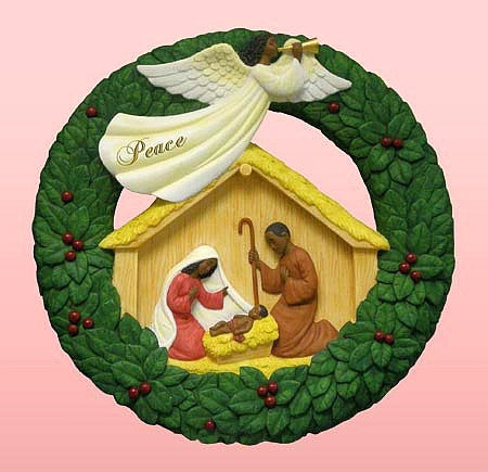 African American Nativity Wreath Plaque