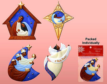 African American Nativity Christmas Ornament Variety Set