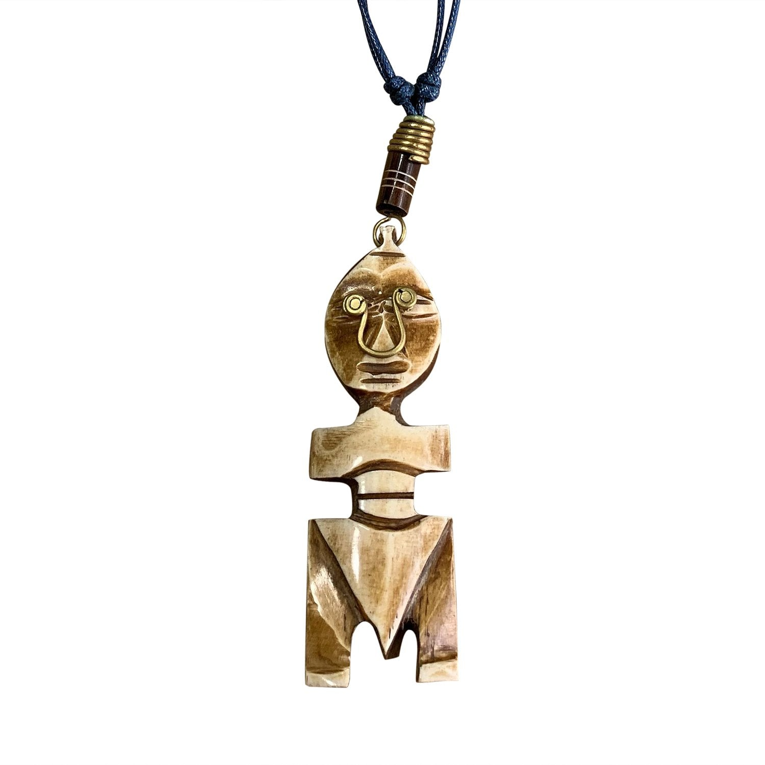 The African: Authentic Handmade African Mask Bone & Brass Pendant Necklace