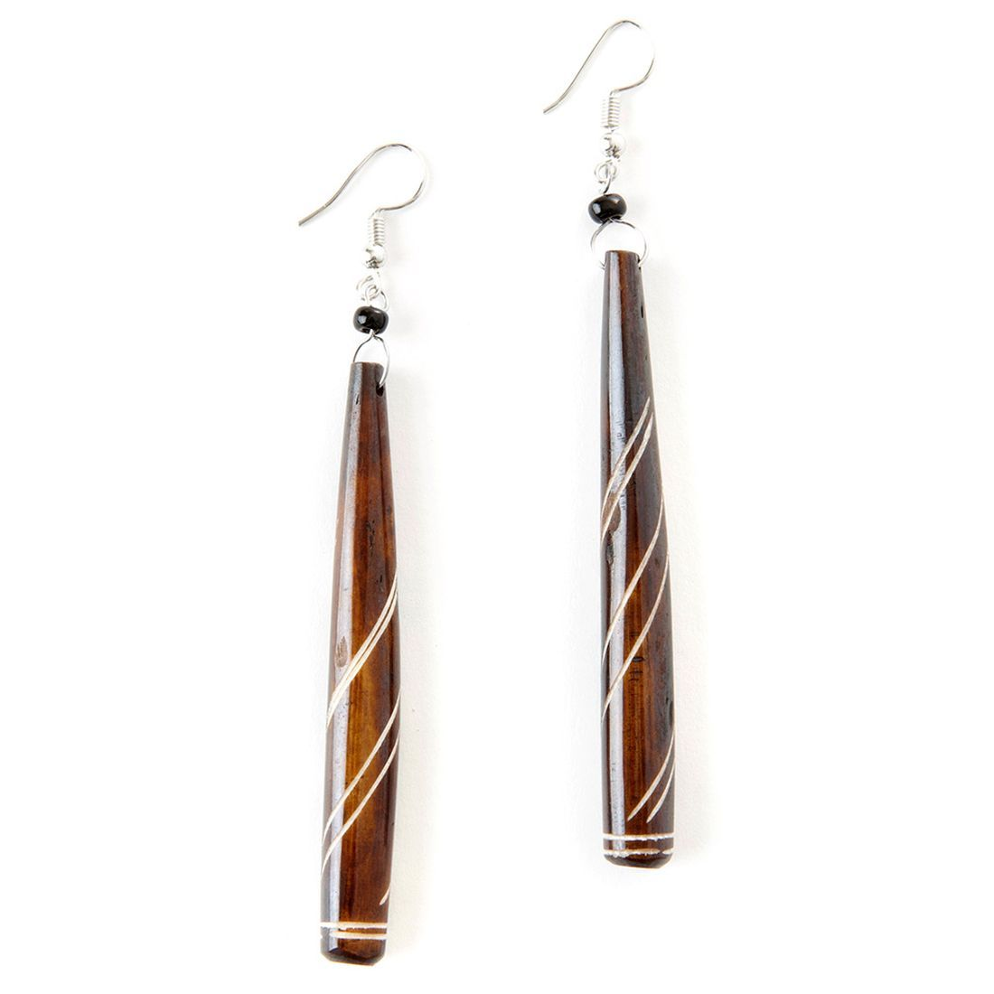 Authentic African Hand Made Pinstripe Bone Drop/Dangle Fishhook Earrings