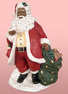African American Santa Claus with a List Figurine (Red)