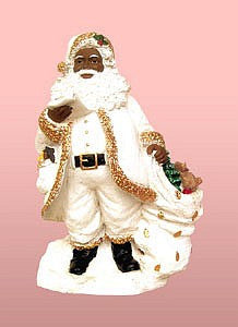 African American Santa Claus with a List Figurine (White)