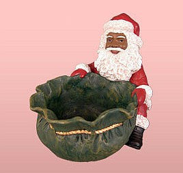 African American Santa Claus Candy Tray Figurine (Small)