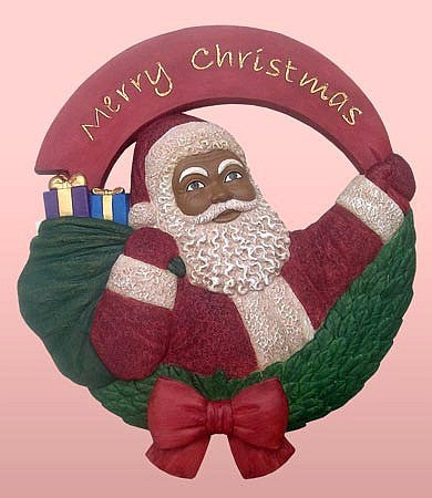African American Santa Claus Wall Plaque