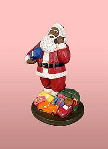 African American Santa Clause With Phone Figurine