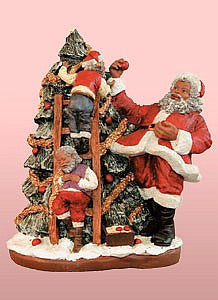 African American Santa Claus Trims The Tree Figurine