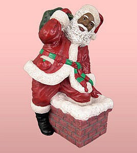 African American Santa Claus Climbing in the Chimney Figurine