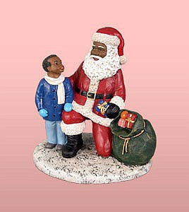 African American Santa Claus With Boy Figurine