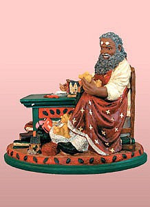 African American Santa Claus' Workshop Figurine