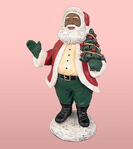 African American Santa Claus Holding a Tree Figurine