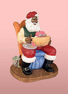 African American Santa Claus Painting A Toy Boat Figurine