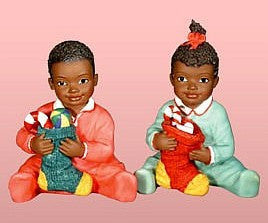 African American Christmas Kids With Stockings Figurine