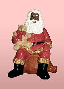 African American Santa Claus Sitting with Teddy Bear Figurine