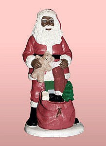 African American Santa Claus with Teddy Bear Figurine