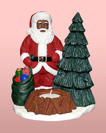 African American Santa Claus Tea Light